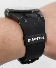 Silicone watch belt overlay DIABETES black