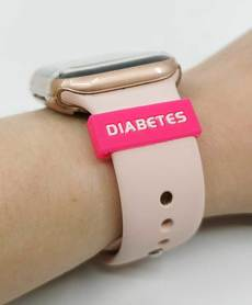 Silicone watch belt overlay DIABETES pink