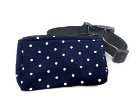 Belt with case for diabetic pump White dots on navy blue