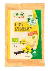BIO Budyń o smaku waniliowym z wanilią Bourbon bez dodatku cukru Vitally Food