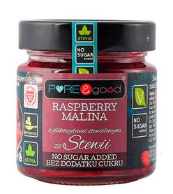 Dżem malinowy bez dodatku cukru słodzony erytrolem i stewią. Idealna propozycja na wyśmienity i zdrowy składnik dań i deserów.