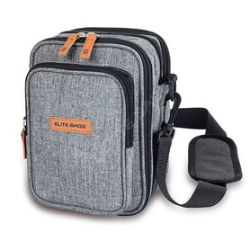 Insulated gray diabetic shoulder bag